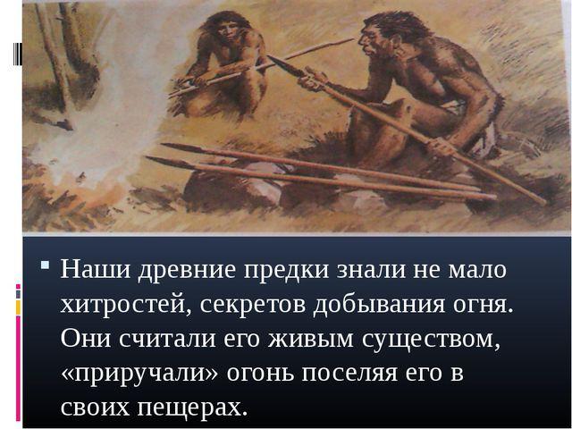 Наши древние предки знали не мало хитростей, секретов добывания огня. Они счи...
