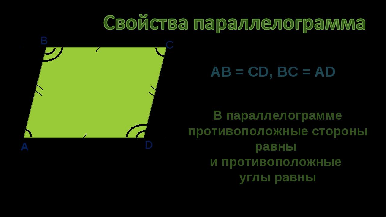 A B C D AB = CD, BC = AD В параллелограмме противоположные стороны равны и пр...
