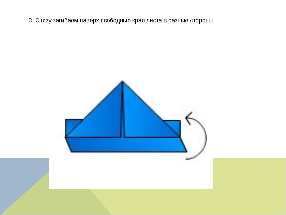 3. Снизу загибаем наверх свободные края листа в разные стороны.