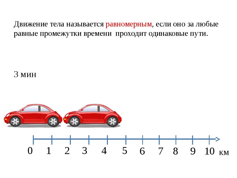 1 2 3 4 5 0 км 8 9 10 7 6 3 мин Движение тела называется равномерным, если он...