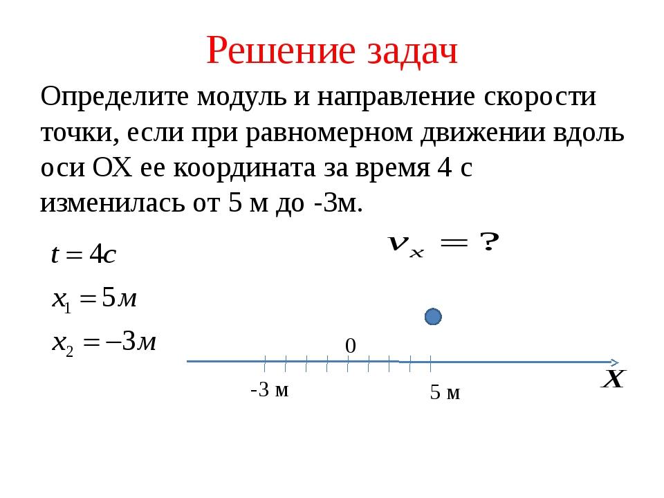Решение задач Определите модуль и направление скорости точки, если при равном...