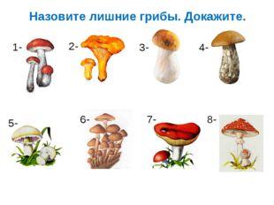 Назовите лишние грибы. Докажите. 1- 2- 3- 4- 5- 6- 7- 8-