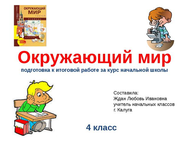 Окружающий мир подготовка к итоговой работе за курс начальной школы 4 класс С...