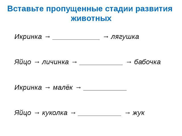 Вставьте пропущенные стадии развития животных Икринка → ____________ → лягушк...