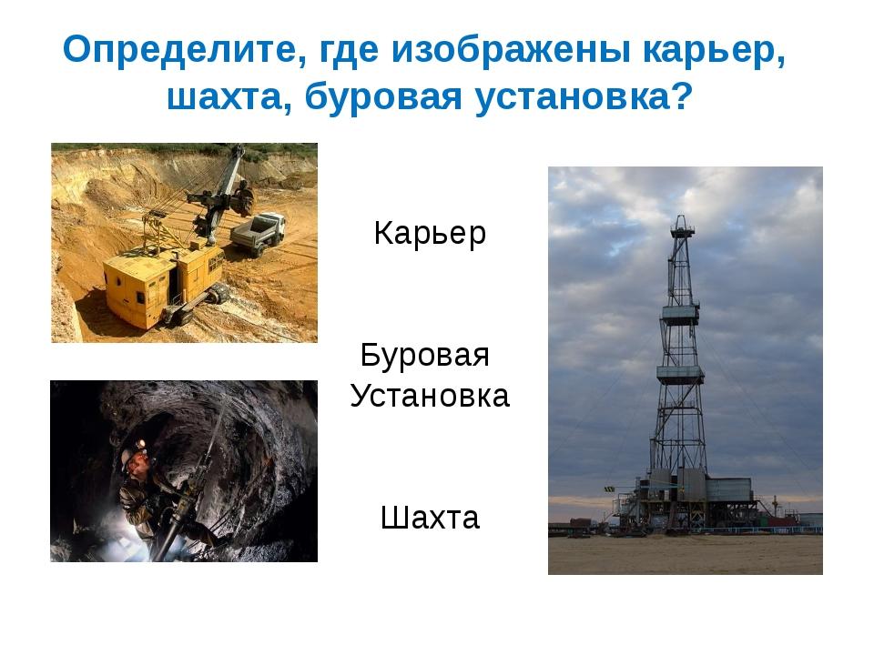 Определите, где изображены карьер, шахта, буровая установка? Карьер Буровая У...