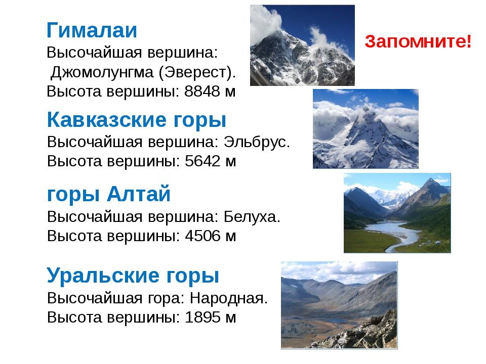 горы Алтай Высочайшая вершина: Белуха. Высота вершины: 4506 м Кавказские горы...