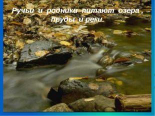 Ручьи и родники питают озера , пруды и реки.