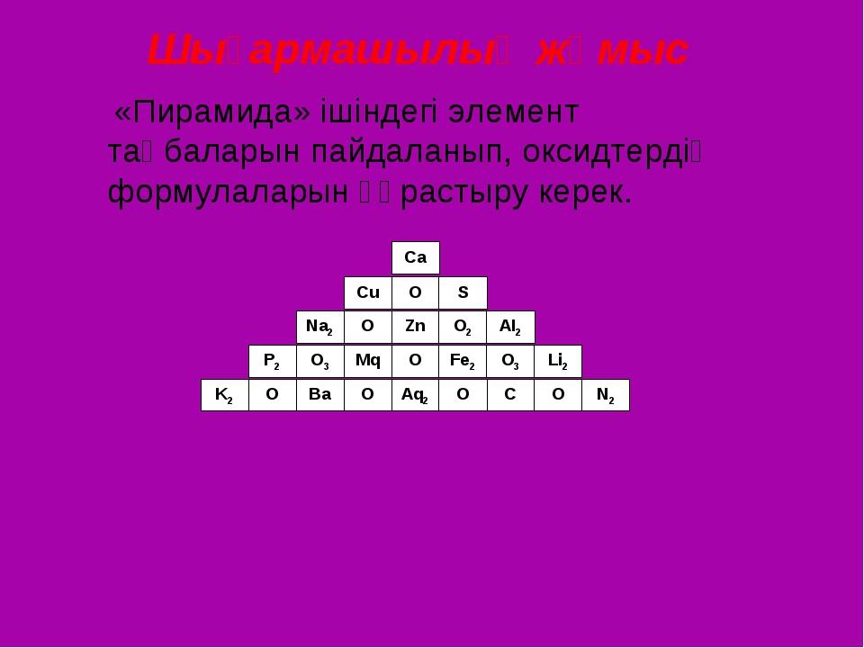 Шығармашылық жұмыс «Пирамида» ішіндегі элемент таңбаларын пайдаланып, оксидте...