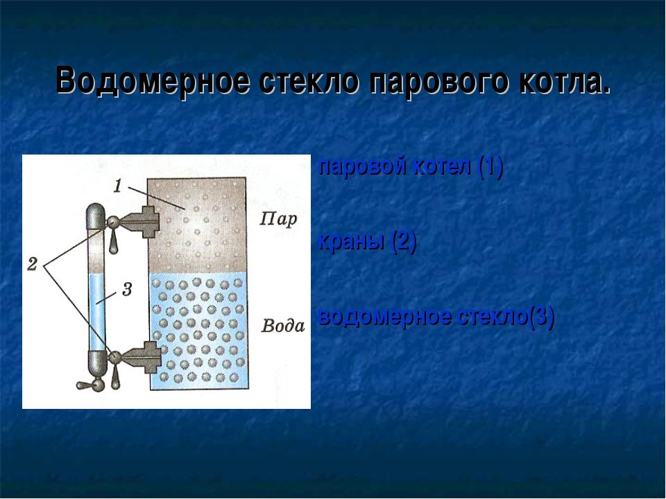 Водомерное стекло парового котла. паровой котел (1) краны (2) водомерное стек...