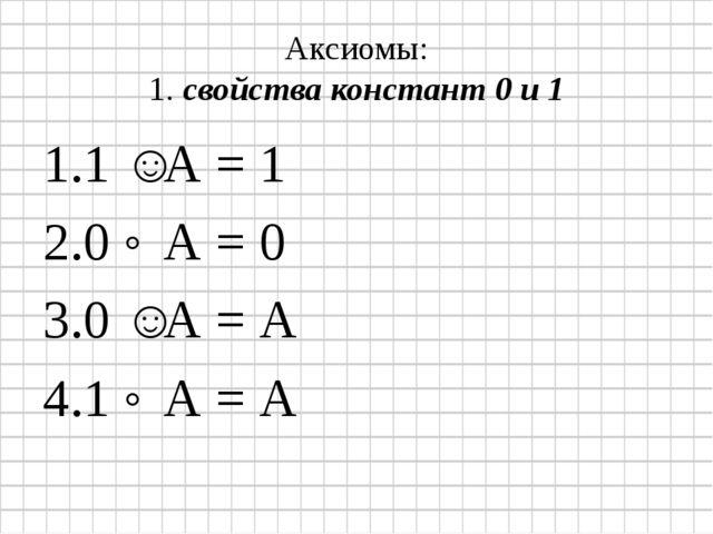 Аксиомы: 1. свойства констант 0 и 1 1 ˅ А = 1 0 ˄ А = 0 0 ˅ А = А 1 ˄ А = А