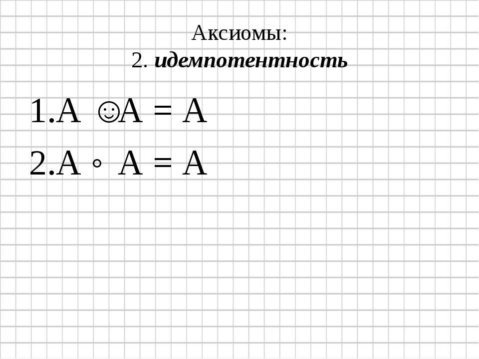 Аксиомы: 2. идемпотентность А ˅ А = А А ˄ А = А