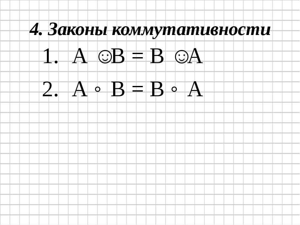 4. Законы коммутативности А ˅ В = В ˅ А А ˄ В = В ˄ А