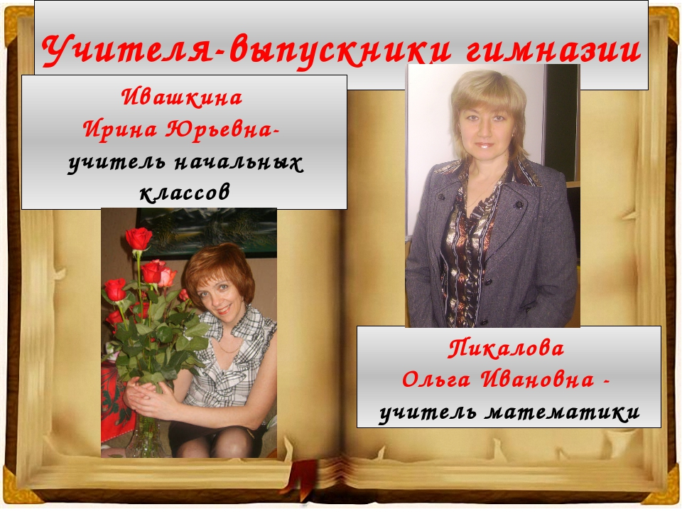 Учителя-выпускники гимназии Ивашкина Ирина Юрьевна- учитель начальных классов...