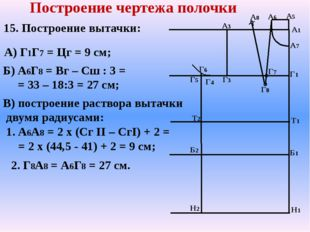 А7 Т2 Б2 Н2 А1 Н1 Г1 Т1 Б1 А3 Г5 Г3 Построение чертежа полочки А8 А5 Г4 Г6 15