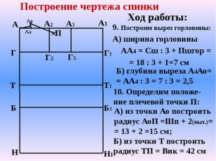 А Г Т Б Н А1 Н1 Г1 Т1 Б1 А2 А3 Г2 Г3 Построение чертежа спинки 9. Построим вы