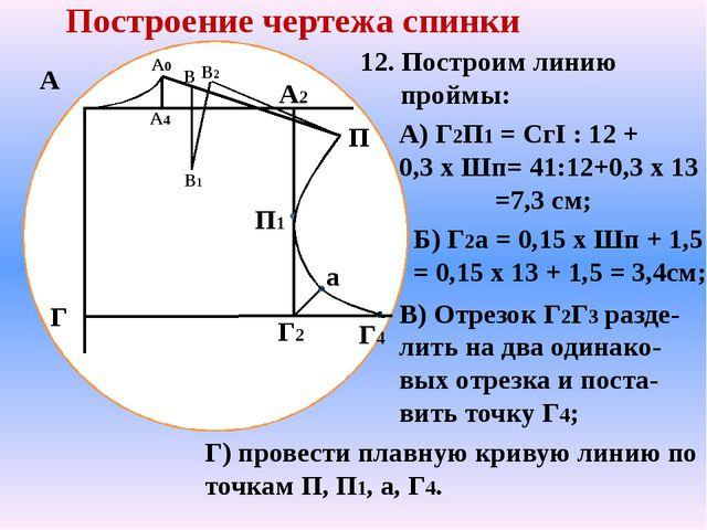 А Г А2 Г2 Построение чертежа спинки А4 А0 П В В1 В2 12. Построим линию пройм...