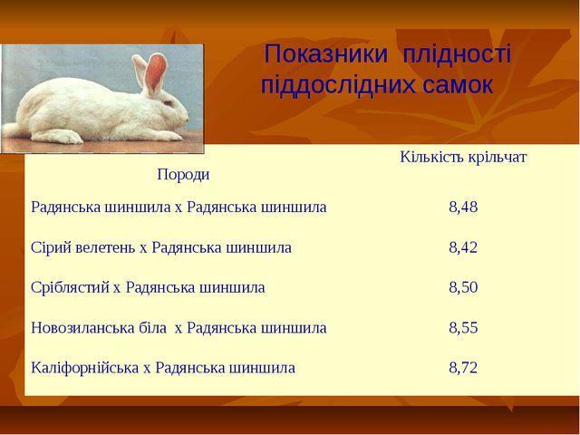 Показники плідності піддослідних самок Породи Кількість крільчат Радянська ш...