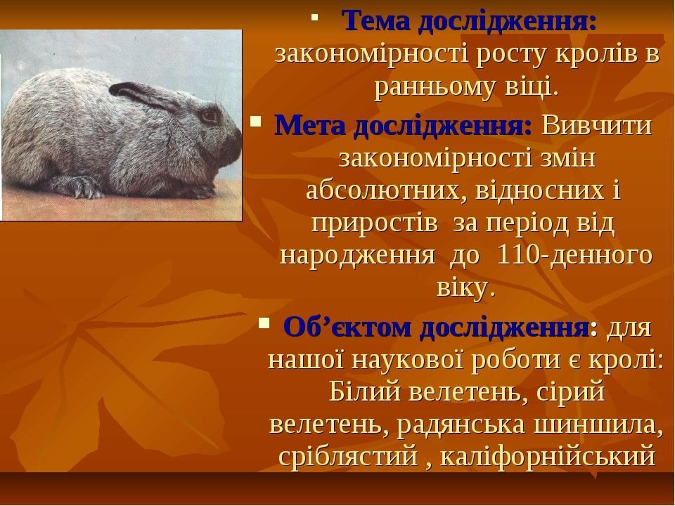 Тема дослідження: закономірності росту кролів в ранньому віці. Мета дослідже...