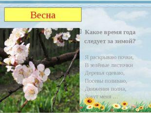 Весна Какое время года следует за зимой? Я раскрываю почки, В зелёные листочк