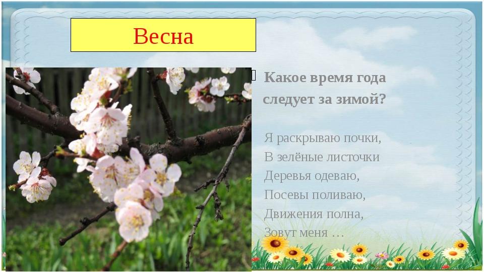Весна Какое время года следует за зимой? Я раскрываю почки, В зелёные листочк...