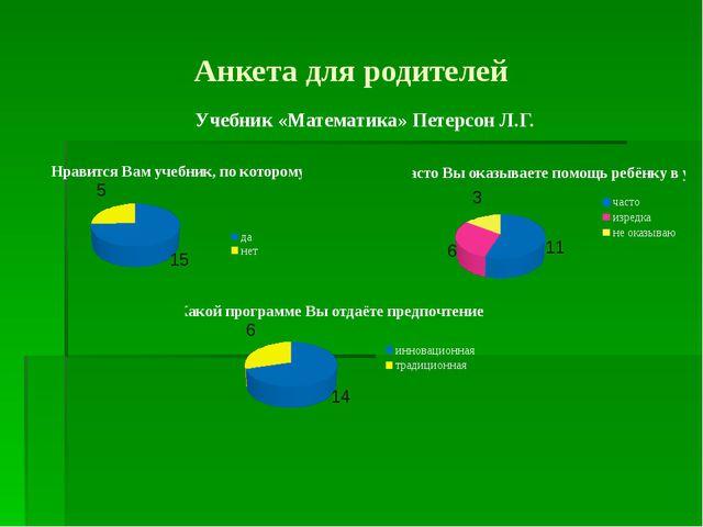 Анкета для родителей Учебник «Математика» Петерсон Л.Г.