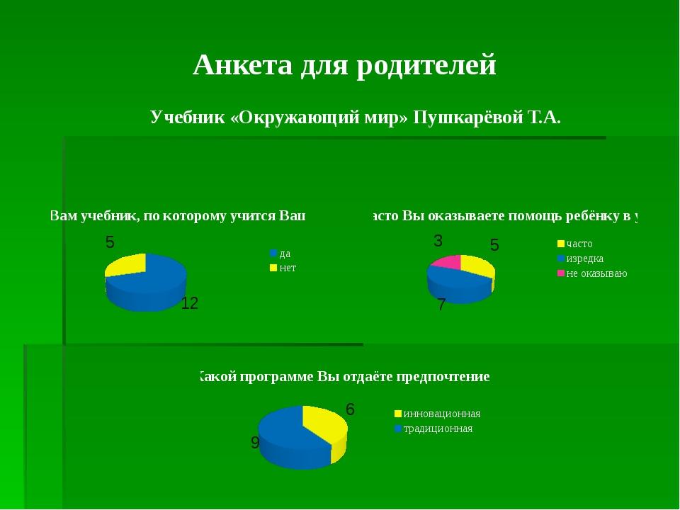 Анкета для родителей Учебник «Окружающий мир» Пушкарёвой Т.А.