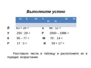 Выполните устно Й 63 + 29 = Е 96 : 12 = У 250 : 29 = Р 2000 – 1988 = К 95 – 7