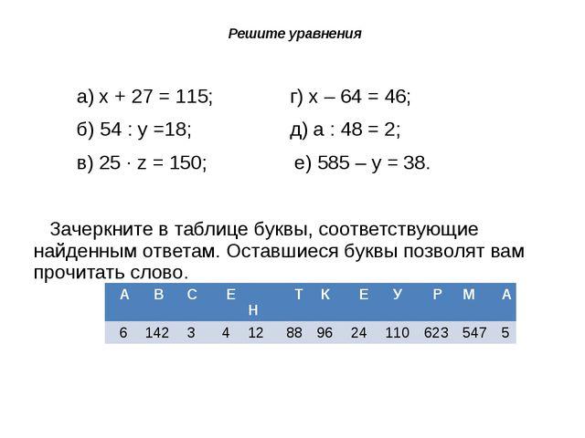 Решите уравнения а) х + 27 = 115; г) х – 64 = 46; б) 54 : у =18; д) а : 48 =...