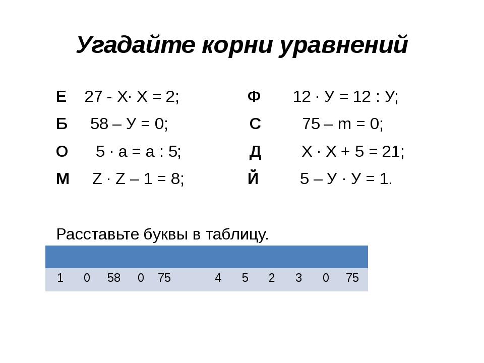 Угадайте корни уравнений Е 27 - Х· Х = 2; Ф 12 · У = 12 : У; Б 58 – У = 0; С...