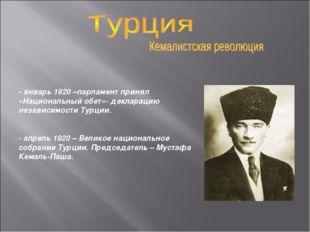 - январь 1920 –парламент принял «Национальный обет»- декларацию независимости