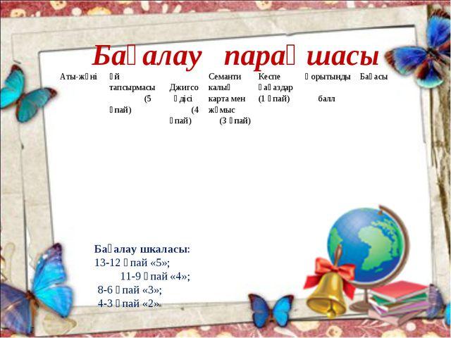 Бағалау парақшасы Бағалау шкаласы: 13-12 ұпай «5»; 11-9 ұпай «4»; 8-6 ұпай «...