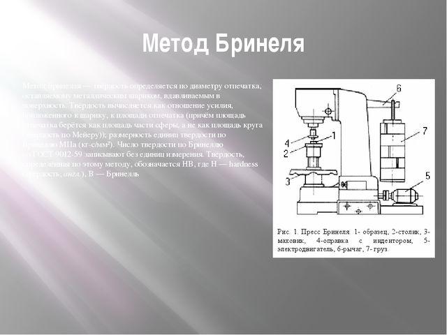 Метод Бринеля Метод Бринелля— твёрдость определяется по диаметру отпечатка,...