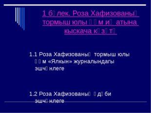 1 бүлек. Роза Хафизованың тормыш юлы һәм иҗатына кыскача күзәтү 1.1 Роза Хафи