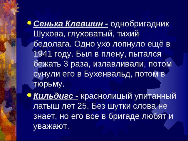Сенька Клевшин - однобригадник Шухова, глуховатый, тихий бедолага. Одно ухо л...