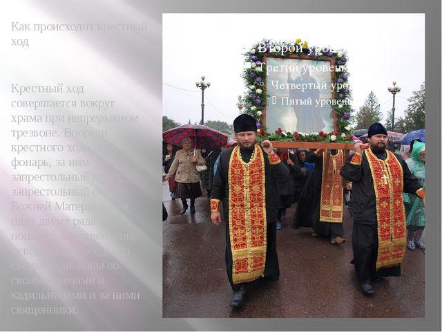 Как происходит крестный ход Крестный ход совершается вокруг храма при непреры...