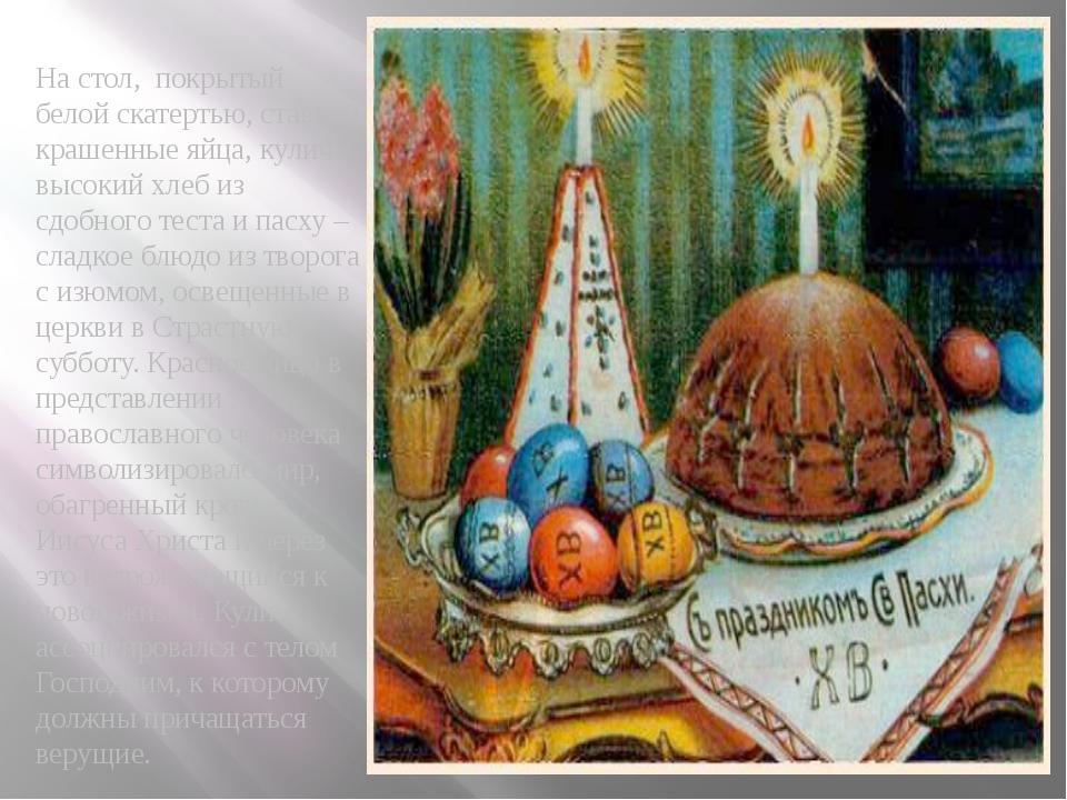 На стол, покрытый белой скатертью, ставили крашенные яйца, кулич - высокий хл...