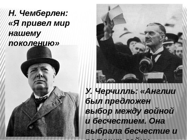 Н. Чемберлен: «Я привел мир нашему поколению» У. Черчилль: «Англии был предло...
