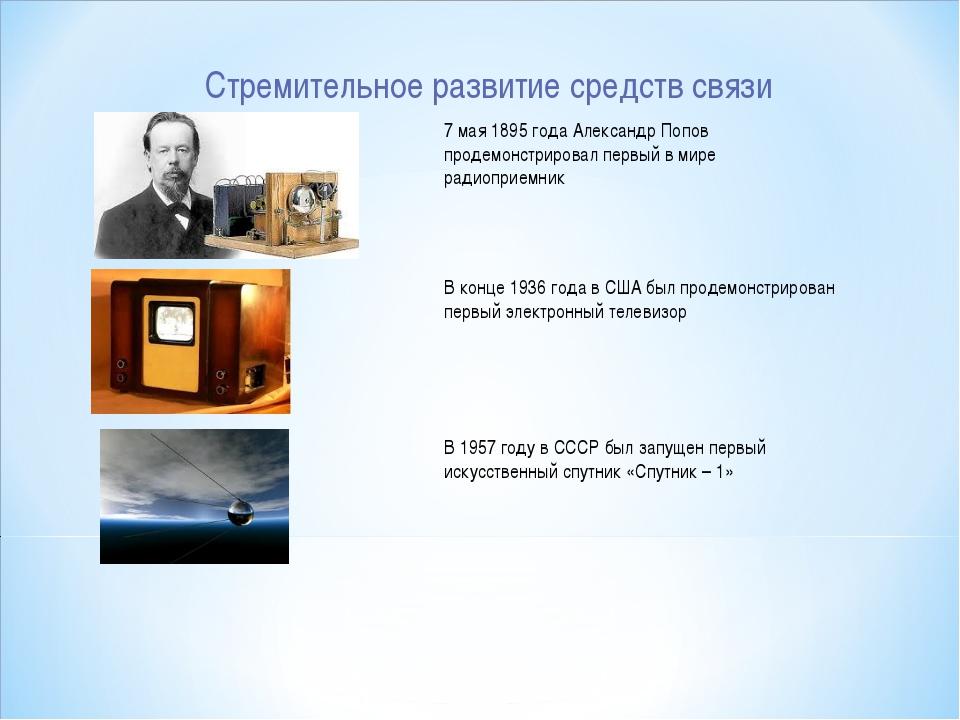 Стремительное развитие средств связи 7 мая 1895 года Александр Попов продемон...