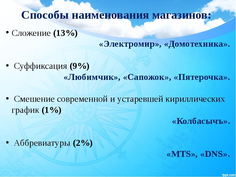 Способы наименования магазинов: Сложение (13%) «Электромир», «Домотехника»....