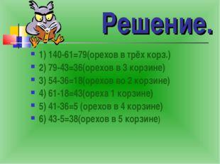 Решение. 1) 140-61=79(орехов в трёх корз.) 2) 79-43=36(орехов в 3 корзине) 3)