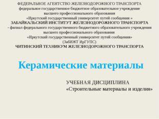 ФЕДЕРАЛЬНОЕ АГЕНТСТВО ЖЕЛЕЗНОДОРОЖНОГО ТРАНСПОРТА федеральное государственное