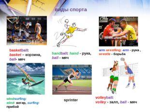 виды спорта basketball: basket – корзина, ball- мяч handball: hand - рука, ba