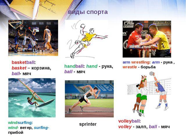 виды спорта basketball: basket – корзина, ball- мяч handball: hand - рука, ba...