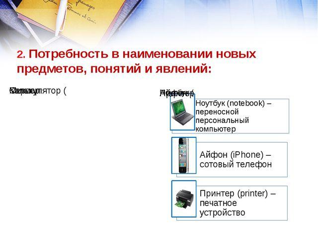 2. Потребность в наименовании новых предметов, понятий и явлений: