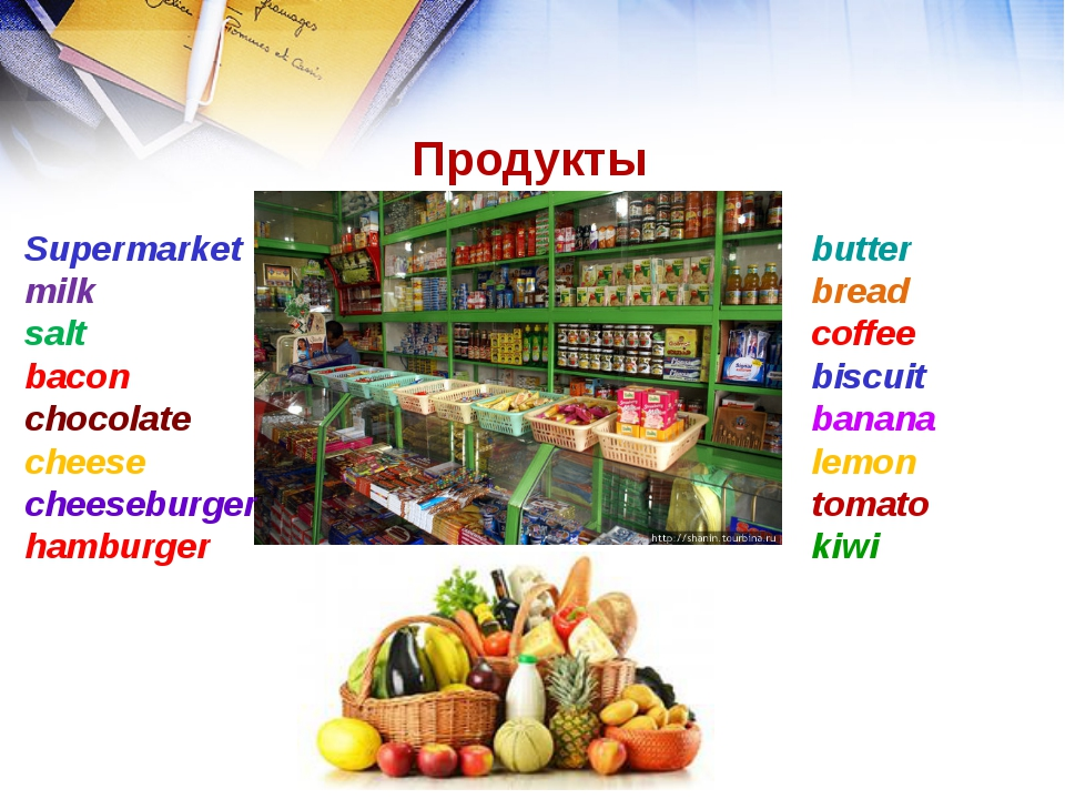 Продукты Supermarket milk salt bacon chocolate cheese cheeseburger hamburger...