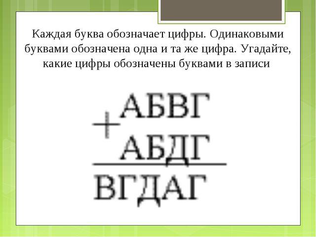 Каждая буква обозначает цифры. Одинаковыми буквами обозначена одна и та же ци...