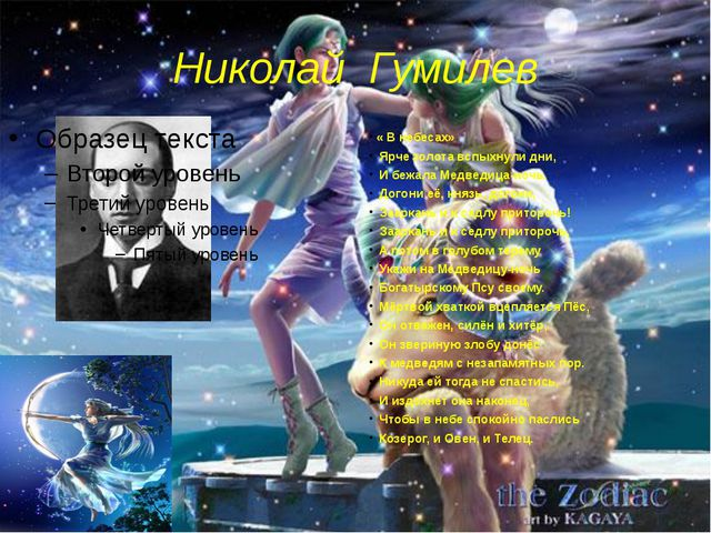 Николай Гумилев « В небесах» Ярче золота вспыхнули дни, И бежала Медведица-но...