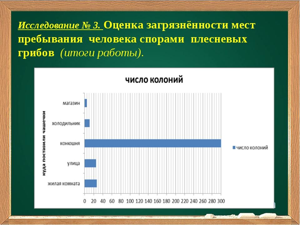 Подзаголовок Исследование № 3. Оценка загрязнённости мест пребывания человека...