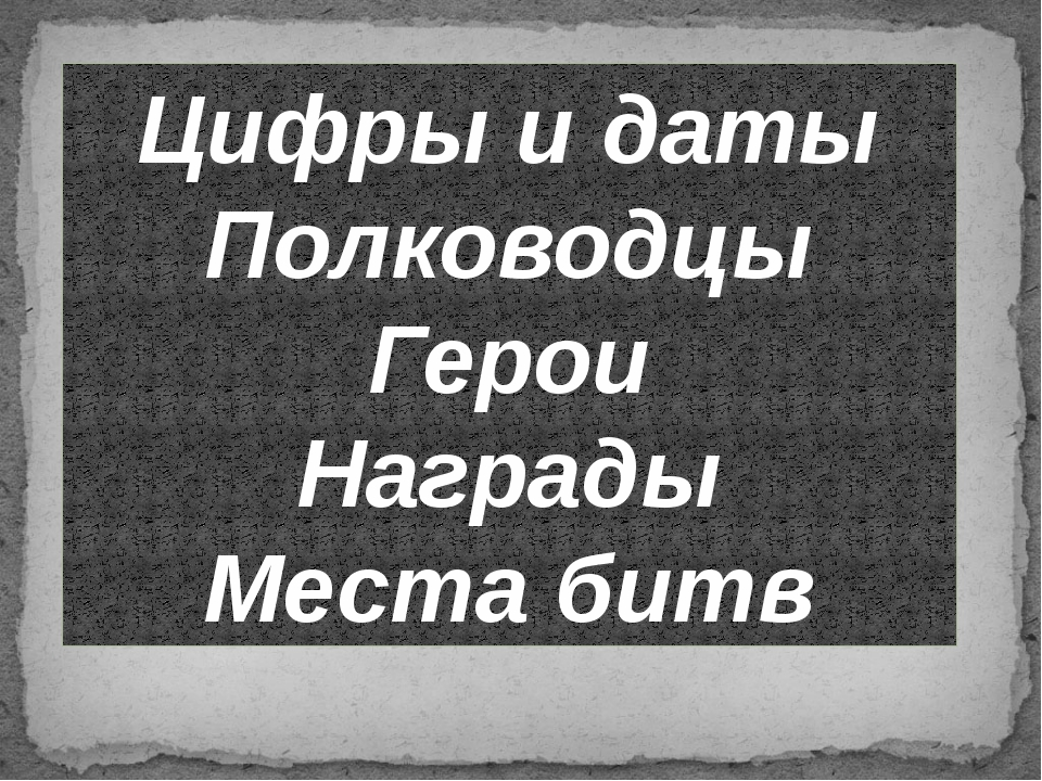 Цифры и даты Полководцы Герои Награды Места битв