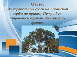 Ответ: Из корабельных сосен на Казанской верфи по приказу Петра I-го строили